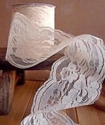 Ivory Chantilly Lace Ribbon 7.6cm x 10 Yards