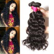 ALI JULIA Hair Brazilian Virgin Natural Wave Hair Weave 4 Bundles 100% Unprocessed Human Hair Weft Extensions 95-100g/pc Natural Colour Mixed Length