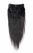 OBeauty Clip in Human Hair Extensions Natural Unprocessed Brazilian Remy Virgin Hair Straight Natural Black #1B 8 pcs 120 grammes