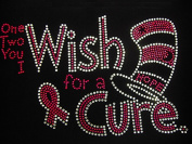 Pink Ribbon Rhinestone Wish for a Cure Transfer Iron On Hot Fix Motif Bling Applique - DIY