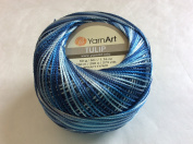 Variegated Blue Shades - Yarn Art Tulip Size 10 Microfiber Thread - 50 Gramme