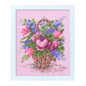 Orimupasu cross stitch embroidery kit Flower Garden friendly flower embroidery amount floral basket Pink 7284