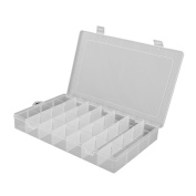 FENICAL Clearn Plastic Jewellery Organiser Box 28-Grid Storage Container Case with Removable Dividers
