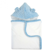 My Blankee Organic White Pima Cotton with Minky Dot Hood & Ears Terry Towel, Blue, 70cm x 110cm
