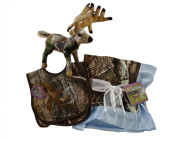 Realtree APC Premium Camouflage Baby Boy Boxed Set - Blanket, Bibs and Whitetail Deer Plush Stuffed Animal