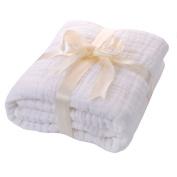 JISEN® Baby Newborn Muslin Cotton Warm Baby Bath Towels Also for Baby Blanket,Natural Antibacterial,Super Water Absorbent,Super Soft Muslin Cotton Baby Bath Towels White Cotton,Baby Gifts