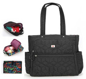 Yoovi Large Handbag Nappy Tote Bags with Changing Mat and 2PCS Small Zippered Bags