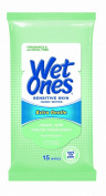 Wet Ones Sensitive Skin Hand and Face Wipes Travel Pack, 15-Count