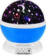 Constellation Night Light Projector Lamp from Peachy Nights offers 4 Bright Colours with 360 Degree Moon Star Projection and Rotation, Easy to Use, Baby Gift, Make Bedtime Fun For Children!