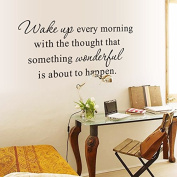English Letters Wake Up Every Morning Wall Decal Home Sticker PVC Murals Vinyl Paper House Decoration Wallpaper Living Room Bedroom Kitchen Art Picture DIY for Children Teen Senior Adult Nursery Baby