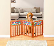 Indoor/Outdoor Stain Glass And Solid Wood 3 Section Pet Gate