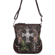 Cowgirl Trendy Fashion Women Western Camouflage Cross Body Messenger Bag Shoulder Purse Brown