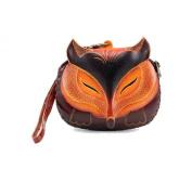Handmade Leather Fox Brown Wristlet Coin Purse