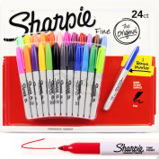 Sharpie Markers 24 Pack Permanent Texta Fine Point Pen Multi Coloured