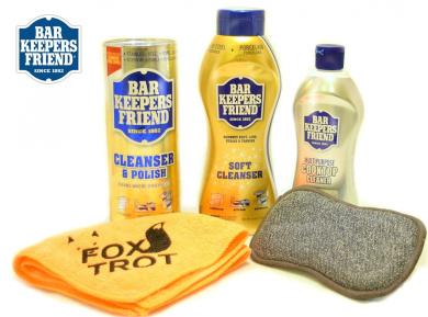 Bar Keepers Friend Cleanser Trio - Mega Bundle (620ml Cleanser & Polish Powder   770ml Liquid Soft Cleanser   380ml Cooktop Cleaner) Plus 1 FoxtrotTM Microfiber Towel & 1 Microfiber Scrubber Sponge
