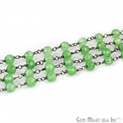 One Foot Baby Green Jade , 4mm Black Plated wire wrapped Rosary Chain for Making Jewellery.