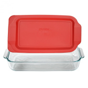 Pyrex Basics 2.8l Glass Oblong Baking Dish with Red Plastic Lid - 23cm x 33cm