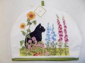 Tea Cosy Black Cat & Flowers