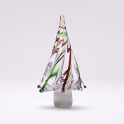 Glitzhome 20cm H Red/Green Striped Table Decor Glass Christmas Tree
