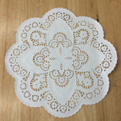 PEPPERLONELY 30cm White French Lace Paper Doilies 50 Count