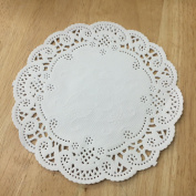 PEPPERLONELY 13cm White French Lace Paper Doilies 100 Count