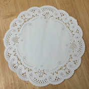 PEPPERLONELY 20cm White French Lace Paper Doilies 50 Count