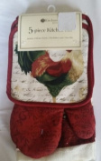 The Pecan Man ,Kitchen Tool Roaster Red Set of 5 :2 Potholders,1 Ovenmitt,2 Kitchen Towel
