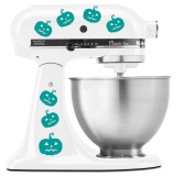 Halloween Cute Jack o Lantern Carved Pumpkin Faces - Vinyl Decal Set for Kitchen Mixers - Turquoise