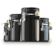 4-Piece Ceramic Canister Set with Clamp-Top Lids and Wooden Spoons, Black