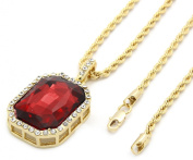 "Mens Gold Plated Iced Out Black Octagon Ruby Pendant With 3mm 24"" Rope Chain Necklace"