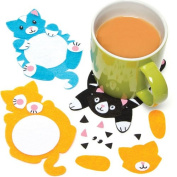 Cute Cat Felt Coaster Craft Kits for Children to Design Make Decorate and Display