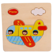 Baby Kids Education Toy, FTXJ Cute Wooden Plane Cartoon Puzzle Educational Developmental Baby Kids Training Toy