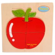 Baby Kids Education Toy, FTXJ Cute Wooden Apple Puzzle Educational Developmental Baby Kids Training Toy