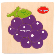 Baby Kids Education Toy, FTXJ Cute Wooden Grape Puzzle Educational Developmental Baby Kids Training Toy