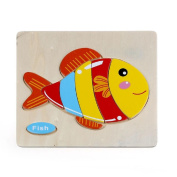 Baby Kids Education Toy, FTXJ Cute Wooden Fish Puzzle Educational Developmental Baby Kids Training Toy