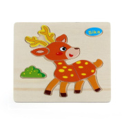 Baby Kids Education Toy, FTXJ Cute Wooden Sika Cartoon Puzzle Educational Developmental Baby Kids Training Toy