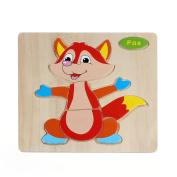 Baby Kids Education Toy, FTXJ Cute Wooden Fox Puzzle Educational Developmental Baby Kids Cartoon Training Toy