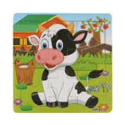 Baby Kids Education Toy, FTXJ Cute Wooden Kids Jigsaw Toys For Children Education And Learning Puzzles Toys Dairy Cow