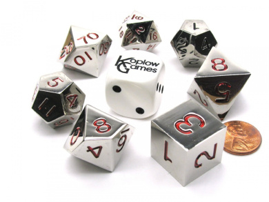 Polyhedral 7-Die Zinc Metal Alloy Koplow Dice Set - Red Numbers