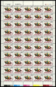 25 Cent Sleigh and Presents Contemporary Christmas Full Sheet of 50 Stamps Scott 2428 By USPS