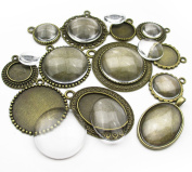ALL in ONE 12 Sets Mixed Cabochon Frame with Glass Dome Setting Tray Pendant for DIY Jewellery Making