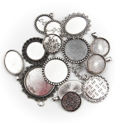 ALL in ONE 15pcs Mixed Cabochon Frame Setting Tray Pendant for DIY Jewellery Making