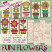 Fun Flowers Redwork and Filled Embroidery Machine Designs on CD - 16 Patterns in 2 Sizes Each - Multiformat CD