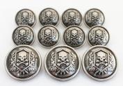 YCEE Premium New 11 Pieces Silver Vintage Metal Blazer Button Set - Skull - For Blazer, Suits, Sport Coat, Uniform, Jacket