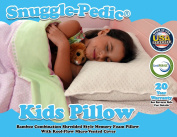 Snuggle-Pedic Toddler and Kids Pillow | Kool-Flow® Ultra Luxury Bamboo Cover With Shredded Memory Foam | All U.S.A. Made | Fits Children For Bed Sleeping, Reading and Travel