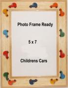 Table Top Photo Frame Wood 5x7 Childrens Decor Cars Auto Design