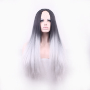Prettybuy Long Straight Black Root Ombre Grey Lace Front Wig Synthetic Hair Wigs for Women Half Hand