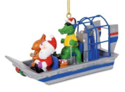 Alligator Guided Airboat with Santa and Reindeer Christmas Holiday Ornament