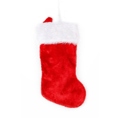 Glitzhome 47cm Traditional Red Plush Santa Christmas Stocking w/ White Cuff