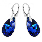 Sterling Silver Made with. Elements Electric Blue Teardrop Leverback Earrings for Women